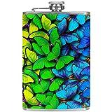 Petacas de Alcohol Mariposa Azul Violeta Petaca 227ml Acero Inoxidable para Whisky Vodka Alcohol líquido con embudos para Hombres y Mujeres 9.2x15cm