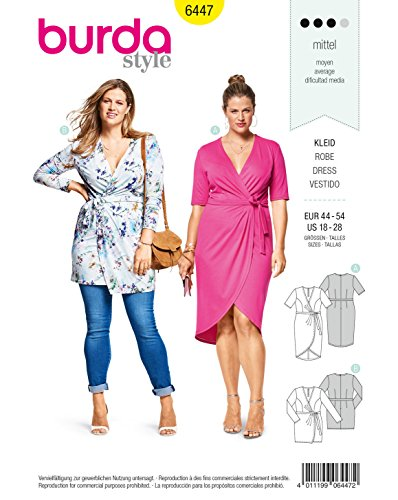 Burda Sewing Pattern 6447 Misses Mock-Wrap Dress Size 18-28