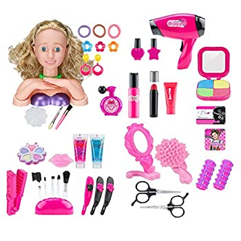 Yamix Girl Makeup Pretend Playset 42 Pieces Styling Head Doll Hairstyle Toy with Hair Dryer Beauty Hair Salon Fashion Pretend Play Set
