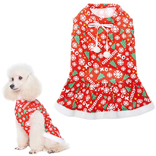 Christmas Dog Dress with Bowtie - Cute Dog Plush Ruffle Dresses Pet Clothes - Red Party Birthday Apparel for Small Medium Dogs Cats