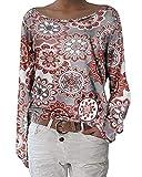 ZANZEA Blusa Floral para Mujer Sexy Casual Otoño Cuello Redondo Suelto Manga Larga Tops Jersey Jumper Túnica Camiseta W-Flores 2 S