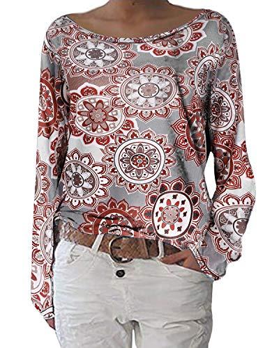 ZANZEA Damen Langarmshirts Lose Blumen Bluse U-Ausschnitt Oversize Sweatshirt Oberteil 01-blumen2 EU 44/Etikettgröße L
