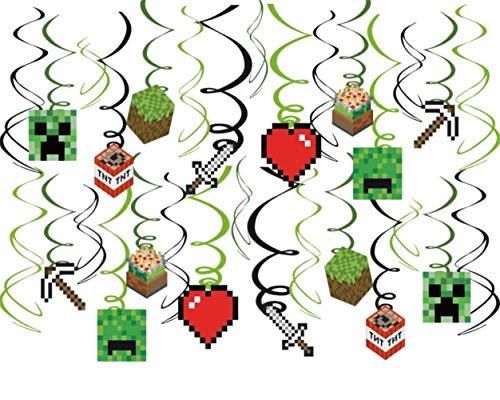 30Ct Pixel Mine Hanging Swirl Decorations - Pixel Mine Party Decorations -Pixel Birthday Party Supplies
