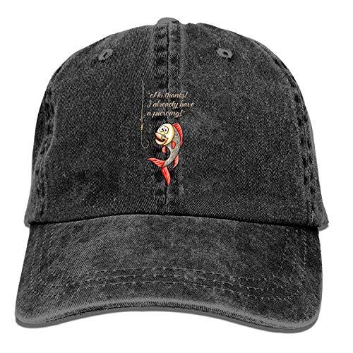 Honkbal Cap-Nee Bedankt Ik heb al een Piercing Grappige Vis Cowboy Hoeden voor Heren Vrouwen Pa, Sport Honkbal Caps