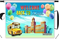 HD Welcome Back to School Backdrop School Bus Balloon Decor Poster Kids First Day of School Photography Background Customized Vinyl 10x7ft Photo Shoot Studio Props MG956