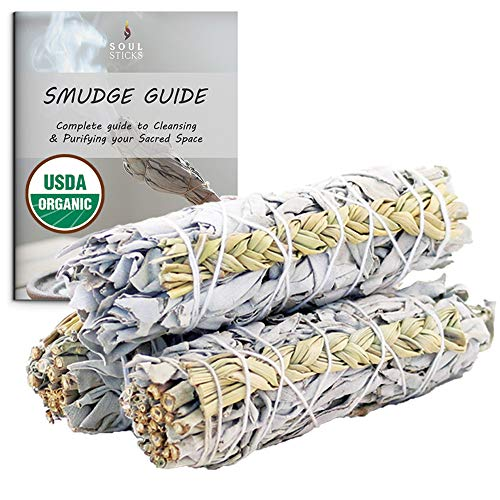 Ancientveda White Sage & Sweetgrass Mix Smudge Sticks 3 Pack Bundle for Cleansing, Meditation, Yoga, and Smudging
