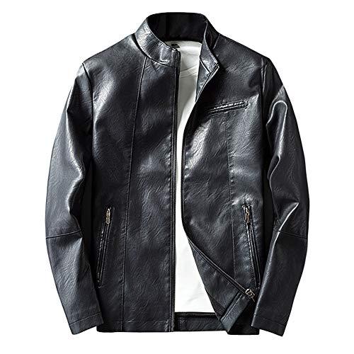 LISUEYNE Herren Lederjacke Mens PU Leder Jacken BiSHE Slim Smart Fit Fleece Harrington Jacke Mantel,Schwarz03,M