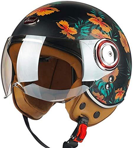XLYYHZ Motorrad-Halbhelme für Damen und Herren, vier Jahreszeiten, leicht, Vintage, offener Gesichtsschutz, Sonnenschutz, elektrisches Motorrad, Retro-Helm, DOT/ECE-zertifiziert (52-60 cm)