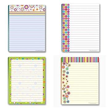 Fun Pattern Designs Pads - 4 Assorted Notepads - Shopping List Teachers Home Office Small Gift