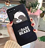 Twinlight Luxury Pu Leather Cartoon Bear Phone Case for iPhone 6 Xs XS MAX XR 7 8 Plus Soft TPU Cover with Card Pocket Bags Fundas (Black, for iPhone X XS)