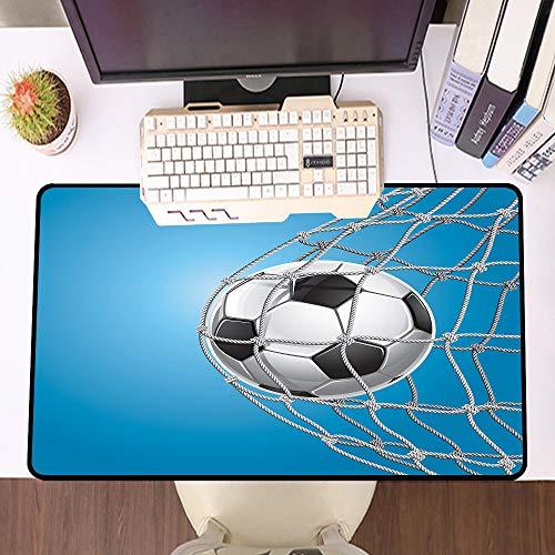 Übergroße Spiel Mauspad -Schreibtischunterlage Large Size,Fußball, Fußballtor in der Netzunterhaltung, die für den Gewinn eines aktiven Lebensstils spielt,und schnelle Maussteuerung,Gummiunterseite
