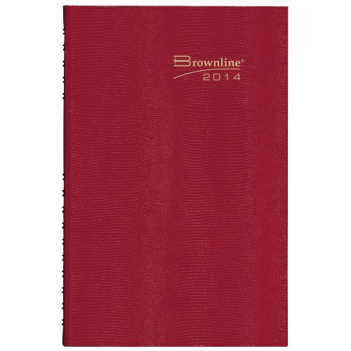 Brownline CB389CRED CoilPro Daily Planner, Ruled 1 Day/Page, 8-1/4 x 5-3/4, Red, 2016
