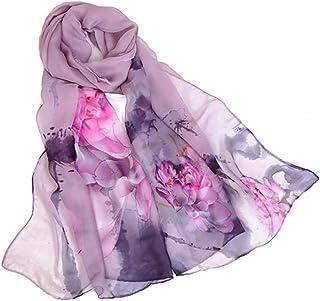 Print Silk Feeling Scarf Fashion Scarves Lightweight Shawl Scarf Sunscreen Shawls for Womens