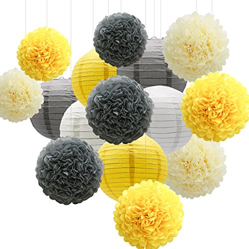 KAXIXI Hanging Party Decorations Set, 15pcs Yellow Gray White Paper Flowers Pom Poms Balls and Paper Lanterns for Wedding Birthday Bridal Sunshine Baby Shower Graduation