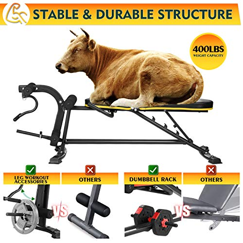 Adjustable Workout Bench - Wesfital 5 in 1 Weight Bench with Leg Extension and Curl Strength Training Bench Utility Incline Bench for Home Gym 400lbs Capacity (Parmesan Yellow)