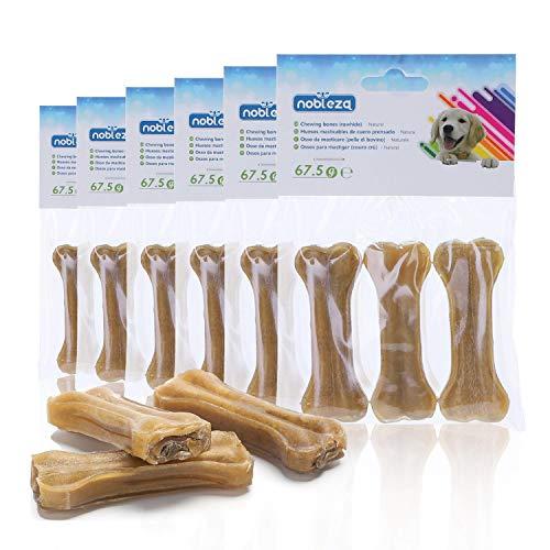Nobleza - Hueso Prensado para Perros Fortalecedor de Dientes Stick Dental Dog Snack, Hueso de Nudillos de Cuero Crudo, Hueso para morder, 7.6cm,18pcs