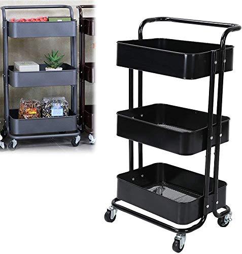 Dljyy 3-Tier Sirviendo Utilidad Carrito con Ruedas, almacenaje del Metal de la Carretilla Rejilla Inferior de la Bandeja móvil de Cocina y Belleza de la Carretilla Belleza Carro de Negro
