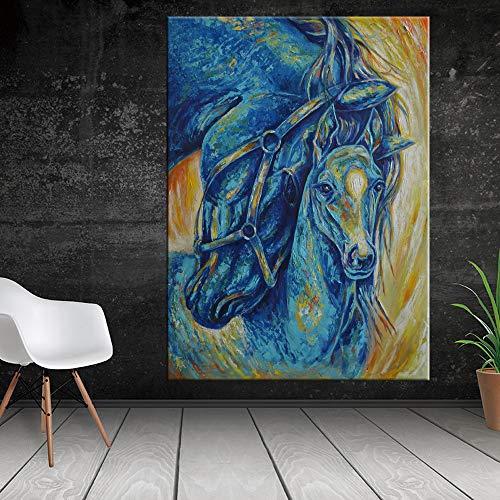 HGlSG Abstract Paard Dier foto canvas schilderij home decor voor ving Kamer decoratie 70x100 cm grote Foto voor Woonkamer A1 50x70 cm