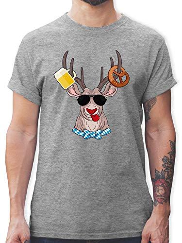 Oktoberfest & Wiesn Herren - Oktoberfest Hirsch - 3XL - Grau meliert - Tshirt+Herren+Bayern - L190 - Tshirt Herren und Männer T-Shirts