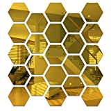 24 piezas hexagonales de acrílico dorado para espejo de pared, espejo decorativo, espejo...
