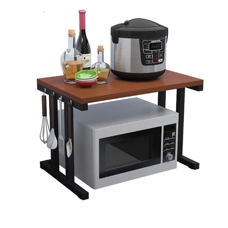 発火するマウンド援助キッチンラック 2ティアキッチン木製棚キッチンUtensill電子レンジは木製収納ラックタオルとアクセサリースタンド 簡単組立 (Color : Black, Size : 57X35X38CM)