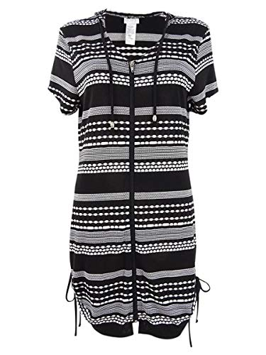 Dotti Plus Size Ibiza Stripe Side Shirred Hoodie Tunic Cover-Up Black/White 1X