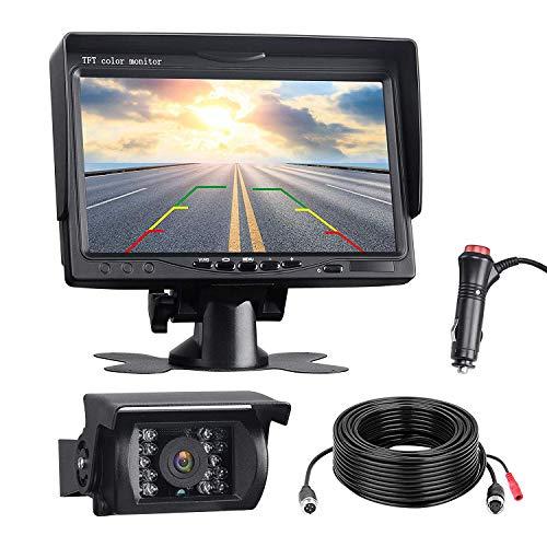 SODIAL Backup Kit Telecamera, Monitor Retrovisore LCD da 7 Pollici con Ip67 Visore Notturno Impermeabile Backview Posteriore Retrovisore per Camion, Camper, Rimorchi, Autobus,Camper