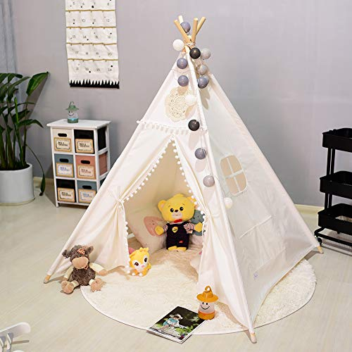 Triclicks Kids Teepee Play Tent - Indian Wigwam Children Tipi Play House - 100% Cotton Canvas Princess Girls Tent for Indoor and Outdoor (White Style C)