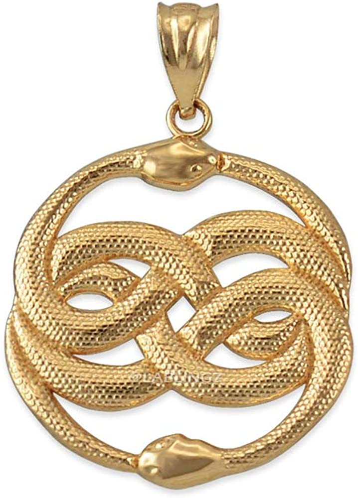 LA BLINGZ Large-scale sale 14K Yellow Gold Infinity Ouroboros Snakes Max 55% OFF Penda Double