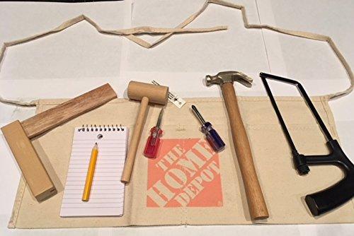 Kids Tool Apron Set Hammer Saw Screwdrivers Level Angle Ruler True Tools Home