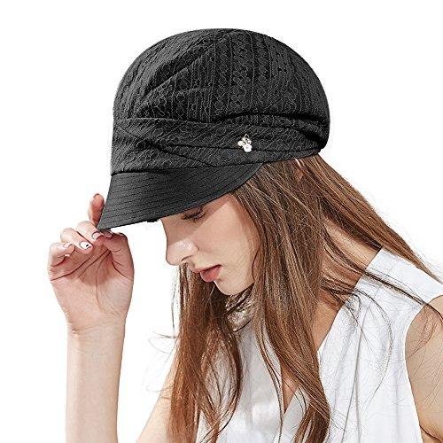 Comhats Damen Schirmmütze Sommerhut Faltbare Barett Mütze mit Visor Schwarz