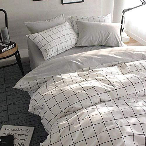 VClife Queen/Full Duvet Cover Set Cotton Bedding Set Collection with 2 Pillow Shams Grey White...