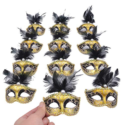 Yiseng Mini Masquerade Mask Party Decorations 12pcs Pack Black Feather Mardi Gras Small Venetian Mask Decor Party Favors