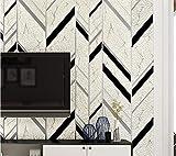 Papel pintado 3D Rayas geométricas no tejido Papel pintado En blanco y negro papel pintado minimalista de lujo Flocado para decoración de pared de dormitorio y hogar 0.53mx9.5m