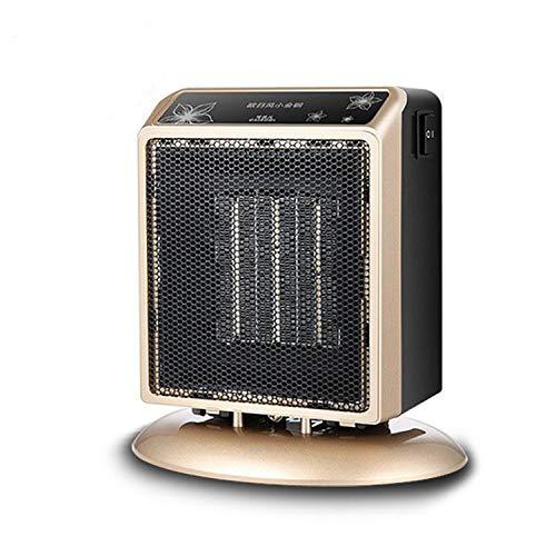 ADLOASHLOU Calefactor Portátil Eléctrico, PTC Elemento de Cerámica Ventilador Calefactor de Aire Caliente 900W / 500Wcon Viento Calor y Natural, Giratorio Gold