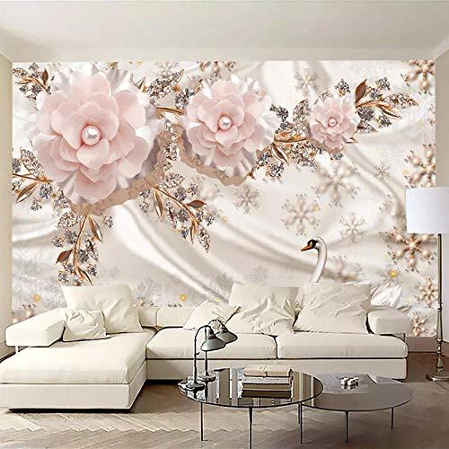 Fotobehang 3D Luxe Swan Ornament Bloem Woonkamer TV Achtergrond Wanddecoratie Muurschildering-300 * 210cm