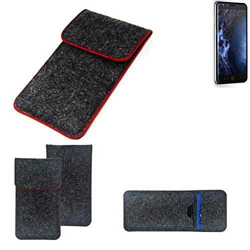 K-S-Trade Handy Schutz Hülle Für Doogee Y6 4G Schutzhülle Handyhülle Filztasche Pouch Tasche Hülle Sleeve Filzhülle Dunkelgrau Roter Rand