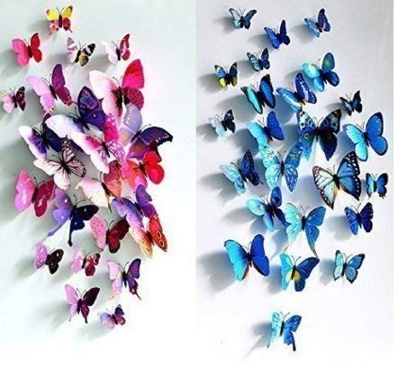 24pcs 3D Butterfly Art Wall Stickers Decor Home Decorations (Rose Purple annd Blue) Useful and Practical