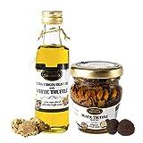 Aceite de trufa blanca con aceite de oliva virgen extra Tuber Magnatum Pico (100 ml) para cocinar, servir, ensaladas y Carpaccio Tartufo Gourmet con Trufa Negra 70% Aceite de Oliva Conservado (45g)