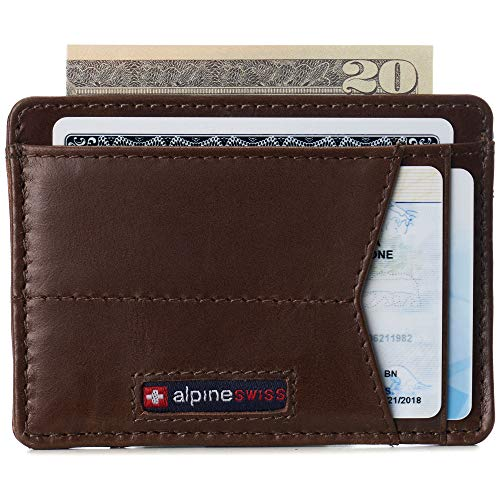 Alpine Swiss Oliver Mens RFID Blocking Minimalist Front Pocket Wallet Leather Comes in a Gift Box Brown