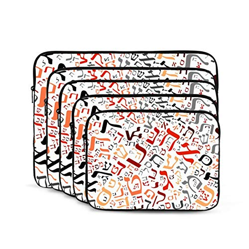 Computer Bag Liner Carrying Case Water-Repellent Fabric Business Casual or SchoolHebrew Alphabet-15 inch