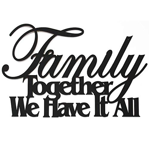 MEMORY MATS & WORD ART Family Themed Handmade Decorative Wall Signs, Kitchen, Home, Restaurant Decoration, 16 x 10 Inches (Family Together We Have It All)