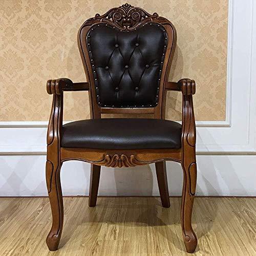 HYY-YY Esszimmerstühle, Küche, Theke, amerikanischer Sessel, Lederstuhl, Massivholz, geschnitzt, einfache Montage, 2 Stück (Farbe: Braun, Größe: 60 x 52 x 106 cm)