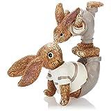 com-four® Coniglietto Pasquale Decorativo in Ceramica fine - Figura Decorativa Artistica per la Decorazione Pasquale - Coniglietti Decorativi Come Supporto (1 Pezzo 18 cm Uomo + Bambino)