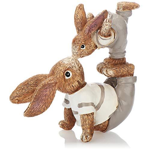 com-four® Conejito de Pascua Decorativo Hecho de cerámica Fina - Figura Decorativa artística para decoración de Pascua - conejitos Decorativos como Soporte (1 Pieza 18cm Hombre + niño)