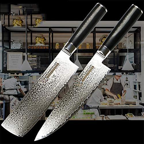 Cuchillo del cocinero Cuchillo de cocina Juego 2 PCS VG10 Japonés Damasco Cuchillo de acero CHEF CLEAVER Cortar Herramientas de cocción G10 Manija Caja de regalo (Color : Blue)