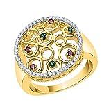KATARINA Anillo de moda de diamantes y piedras preciosas multicolor en oro de 10 quilates (7/8 cttw, J-K, SI2-I1)