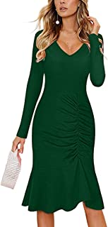 YOCheerful Fishtail Dress Women's Casual V-Neck Long Sleeve Dress Ruched Ruffle Bodycon Solid Midi Dress