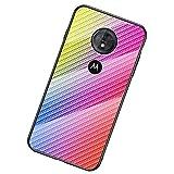 UKDANDANWEI Moto G6 Play Coque,Etui de Téléphone en Fibre de Carbone et Verre Trempé Transparent...
