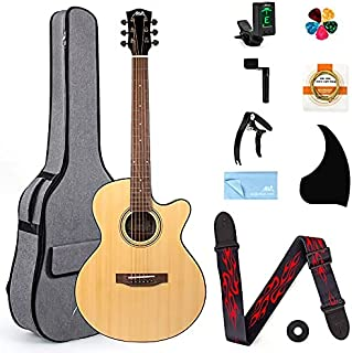 AKLOT Acoustic Guitar Full Size 38 inch Spruce Cutaway Guitar Bundle for Students Kids Beginners W/Gig Bag Tuner Strap Pic...